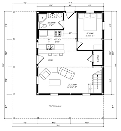 Small Barn House Plans on 720 square foot house plans