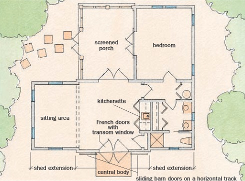 Tiny House Plans for Farm Style Cottages! on garden guest house floor plans, 1 bedroom open floor house plans, 2 bedroom guest house floor plans, 1 bedroom small house plans,